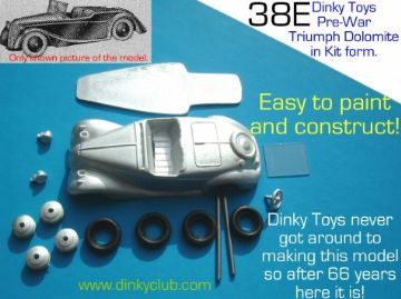 Dinky Toys copy model 38E Triumph Dolomite in kit form